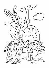 funny easter bunny and coloring page for kids coloring