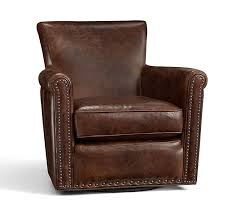 Armchair Cushion Irving Leather Swivel Armchair With Nailheads Pottery Barn