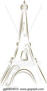 eps illustration sketch of the eiffel tower vector clipart