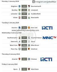 Jadwal Liga Inggris Jadwal Siaran Langsung Tv Pertandingan Liga Primer Inggris Pekan