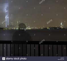 9 11 Memorial Lights Ghost Image Of Person Looking At The 9 11 Memorial Lights And The