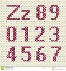 pattern and numbers cross stitch alphabet and number stock vector illustration of