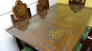 indian wood dining table dinning table teak wood hand carved brass inlay made in india mov