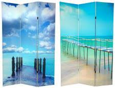 Nautical Room Divider Theme Decorating With Photo Printed Room Divider Screens