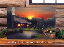 lighted canvas art with timer lake cabin lighted picture w 6 hour timer shelley b home and