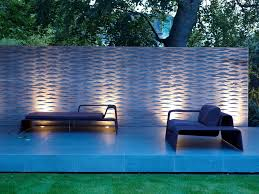 garden feature wall patio contemporary with light gardening