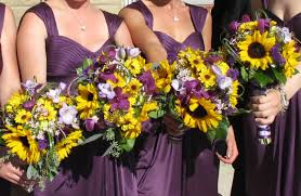 Sunflower Wedding Bouquet Sunflower Purple Orchid Wedding Bouquet Bride In Bloom