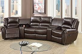 home theater sectional sofa set amazon com 5pcs brown bonded leather reclining sofa set home