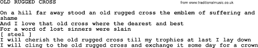 Song Lyrics Old Rugged Cross Old Rugged Cross By Merle Haggard Lyrics