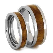 titanium wedding ring sets for him and wood wedding ring set with teak burl in titanium