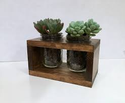succulent planter rustic planter double for succulents or herbs treetop woodworks