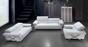VIG Divani Casa Linx Modern Leather Sofa Set - White leather living room set