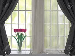 White Curtains With Yellow Flowers Bouquet Of Pink Flowers Tulips On A Windowsill Window With