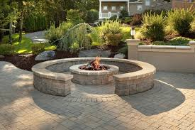 Brick Firepit Custom Brick Patio With Pit And Sitting Wall Traditional