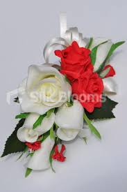 Red Rose Corsage Shop Simple And Elegant Artificial White And Red Rose Corsage