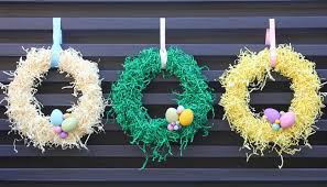decorative shred paper shred easter wreath craft ideas