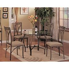 Glass Dining Table And Chairs Amazon Com Home Source Industries 5 Piece Bronza Dinette With