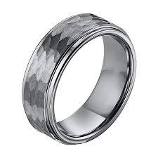 hammered wedding band hammered texture white tungsten mens wedding band