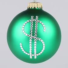 dollar sign ornament tree ornaments depicting a dollar