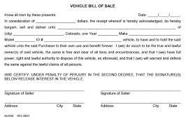 Free Motor Vehicle Bill Of Sale Template by Free Colorado Vehicle Bill Of Sale Form 2 Pdf Template Form