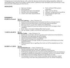 Example Resume Waitress Resume Examples For Servers Best Server Resume Example Livecareer