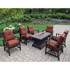 Fire Pit Lava Rock by Cascadian 7 Piece Red Lava Rock Gas Firepit Table Chat Set With 6