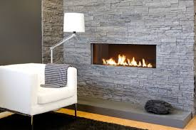 living room comfy classic stones exposed faux fireplace white