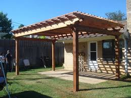 exterior simple house backyard with natural finished teak wood
