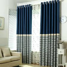 Navy And Green Curtains Beige Curtains Simple Navy Polyester Blackout Striped Curtains
