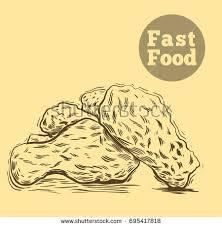 hand drawn sketch fast foodbreaded crispy stock vector 695417818