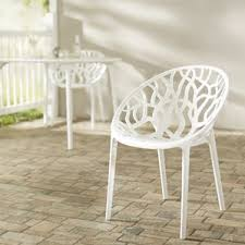 White Wood Outdoor Furniture by White Patio Dining Chairs You U0027ll Love Wayfair
