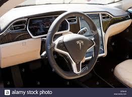 tesla model electric car interior stock photo royalty free