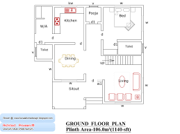 Floor Plan Simple Kerala Style House Plans Below Sq Ft Ideas 3 Bhk Simple Home Map