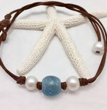 leather necklace with pearl images Marina pearl and leather with glass necklace seamist studio jpg
