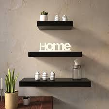 wall shelf set of 3 floating shelves organizer black