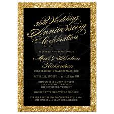 50th wedding anniversary 50th wedding anniversary party invitations gold sparkle