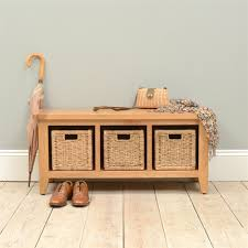 Storage Bench With Drawers Montague Oak Storage Bench With 3 Baskets M515 With Free