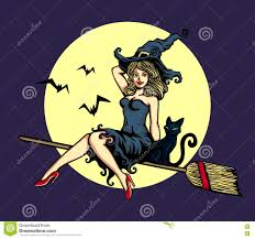 cute pin up in witch costume riding flying broomstick