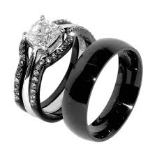 skull wedding ring sets his hers 4 pcs black ip stainless steel wedding ring set mens