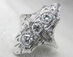 engagement ring 1 ct 1920s platinum engagement ring art deco ring