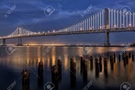 Bay Bridge Lights San Francisco Bay Bridge Glowing Bay Lights During Blue Hour