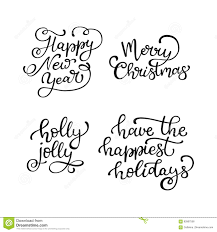 quote happy christmas set of hand drawn vector quotes happy new year merry christmas