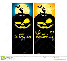 vector creepy halloween pumpkin vertical banner template stock