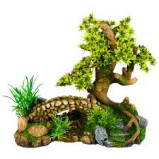 top fin bonsai tree with bridge aquarium ornament petsmart