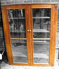 Wooden Bookcase With Glass Doors Vintage Bookcase Glass Doors Wood Filigree Leaves Wooden