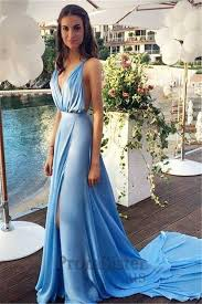 blue v neck long flowy high slit chiffon maxi prom dress