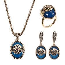 vintage blue stone necklace images Jassy vintage gold silver necklace natural blue stone ring retro jpeg