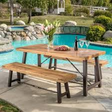 Patio Furniture Table Wood Patio Furniture Outdoor Seating Dining For Less