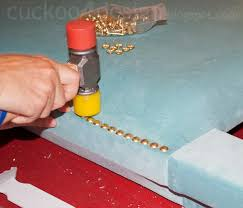 Upholstery Nail Strips Diy Headboard Tutorial With Individual Brass Nails Cuckoo4design