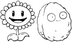 plants vs zombies coloring pages sunflower wall nut coloringstar